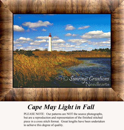 Cape May Light in Fall, Lighthouse Counted Cross Stitch Pattern