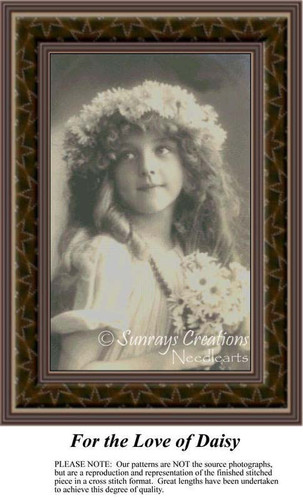 For the Love of Daisy, Sepia Counted Cross Stitch Pattern
