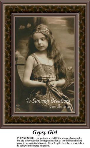 Gypsy Girl, Sepia Counted Cross Stitch Pattern