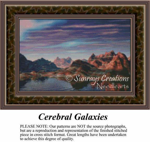 Cerebral Galaxies, Fantasy Counted Cross Stitch Pattern