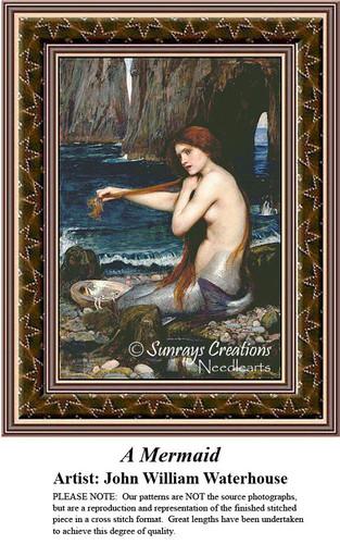 Fine Art Counted Cross Stitch Patterns | A Mermaid