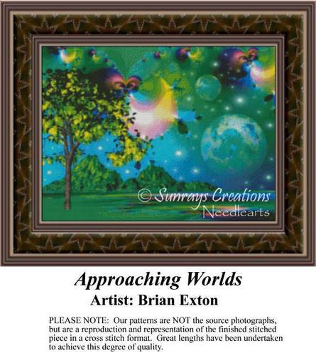 Approaching Worlds, Fantasy Cross Stitch Pattern