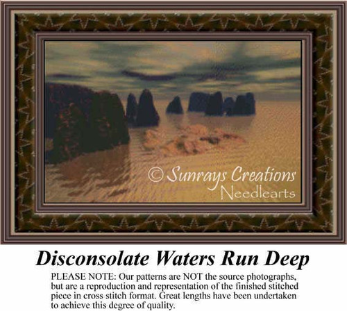 Disconsolate Waters Run Deep, Fantasy Counted Cross Stitch Pattern
