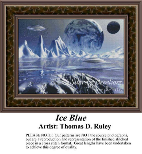 Ice Blue, Fantasy Counted Cross Stitch Pattern