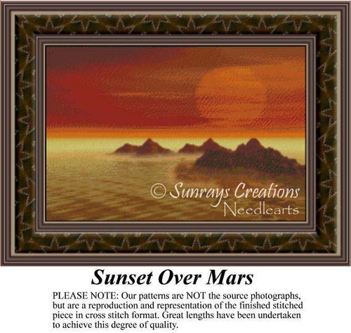 Sunset Over Mars, Fantasy Counted Cross Stitch Pattern