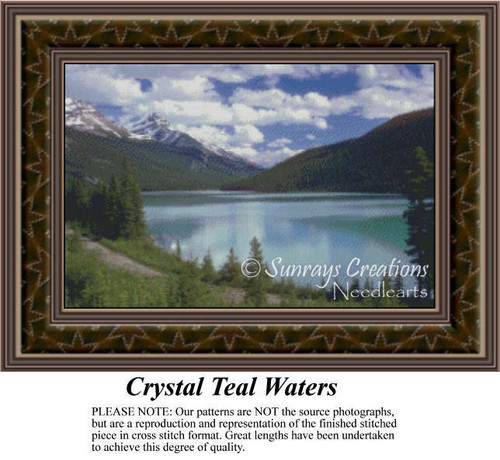 Crystal Teal Waters, Alluring Landscapes Counted Cross Stitch Pattern, Waterscapes Counted Cross Stitch Patterns