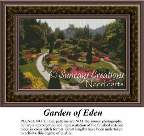Garden of Eden, Landscapes Counted Cross Stitch Pattern