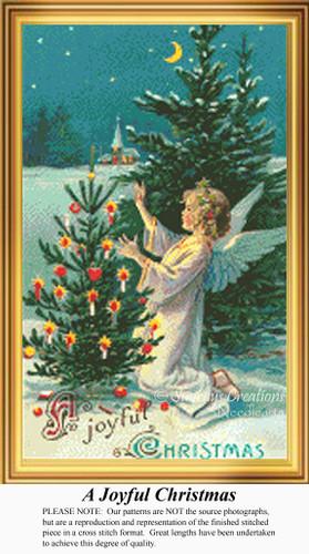 A Joyful Christmas, Vintage Counted Cross Stitch Pattern
