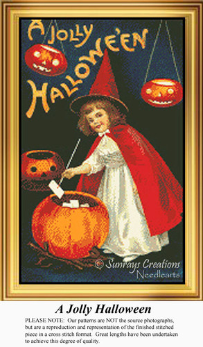 A Jolly Halloween, Vintage Counted Cross Stitch Pattern