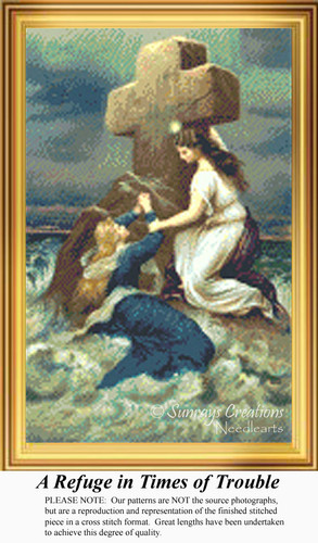 A Refuge in Times of Trouble, Vintage Counted Cross Stitch Pattern