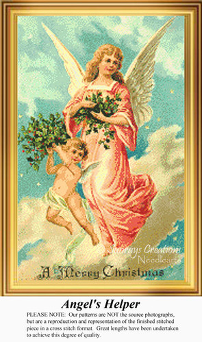 Angel's Helper, Vintage Counted Cross Stitch Pattern