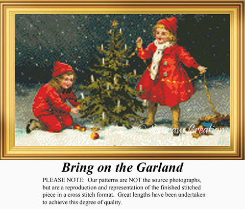 Bring on the Garland, Vintage Counted Cross Stitch Pattern