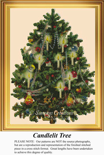 Candlelit Tree, Vintage Counted Cross Stitch Pattern