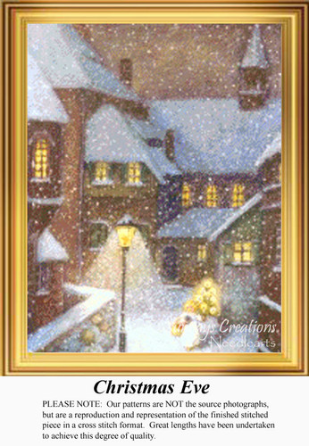 Christmas Eve, Vintage Counted Cross Stitch Pattern