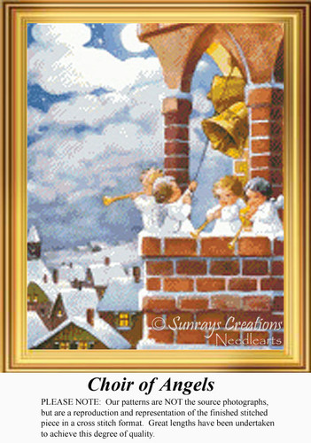 Choir if Angels, Vintage Counted Cross Stitch Pattern