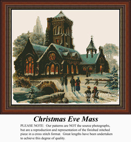 Christmas Eve Mass, Vintage Counted Cross Stitch Pattern