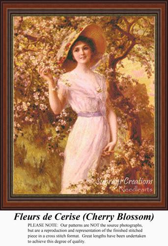 Fleurs De Cerise (Cherry Blossom), Vintage Counted Cross Stitch Pattern