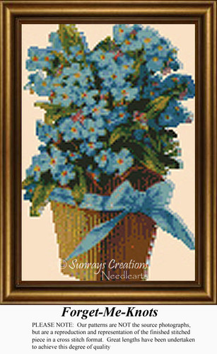 Forget-Me-Nots, Vintage Counted Cross Stitch Pattern