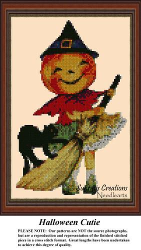Halloween Cutie, Vintage Cross Stitch Pattern