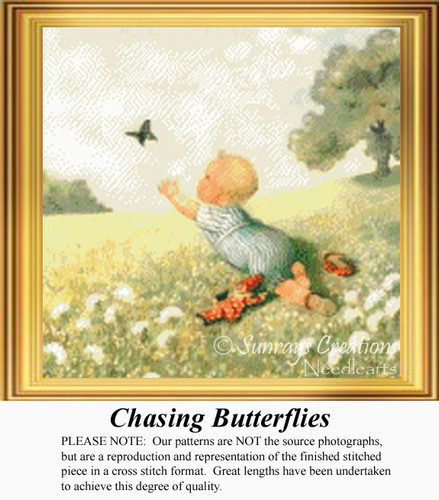 Chasing Butterflies, Vintage Counted Cross Stitch Pattern