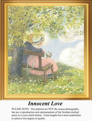 Innocent Love, Vintage Counted Cross Stitch Pattern