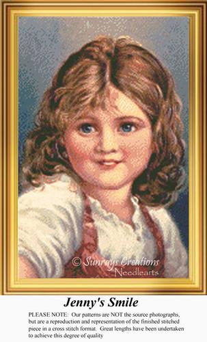 Jenny's Smile, Vintage Counted Cross Stitch Pattern
