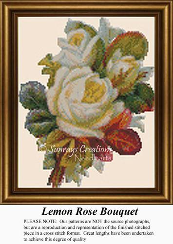 Lemon Rose Bouquet, Vintage Counted Cross Stitch Pattern