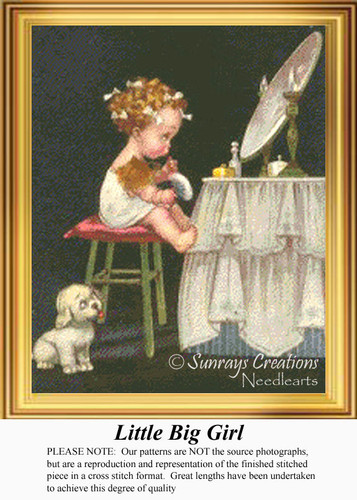 Little Big Girl, Vintage Counted Cross Stitch Pattern