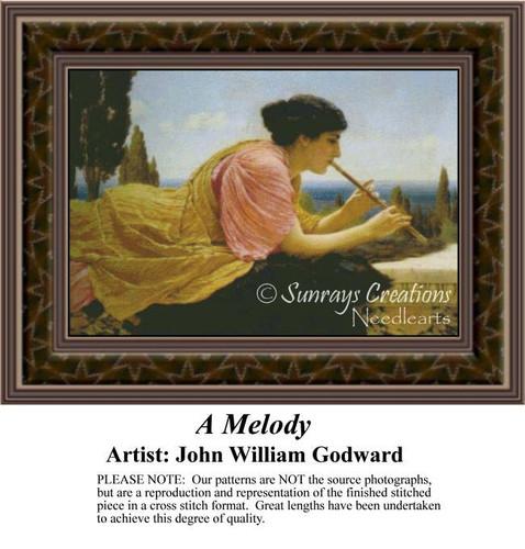 A Melody, Fine Art Counted Cross Stitch Pattern, Women Counted Cross Stitch Pattern