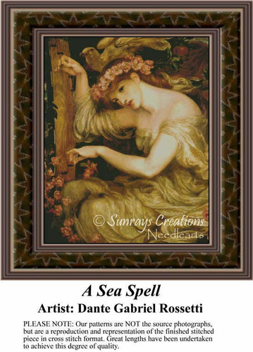 A Sea Spell, Fine Art Counted Cross Stitch Pattern, Women Counted Cross Stitch Pattern