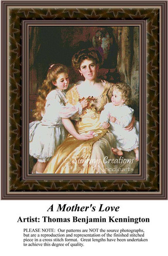 A Mother's Love, Family Counted Cross Stitch Pattern, Fine Art Counted Cross Stitch Pattern