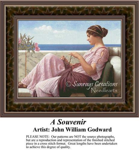 A Souvenir, Fine Art Counted Cross Stitch Pattern, Social Counted Cross Stitch Pattern