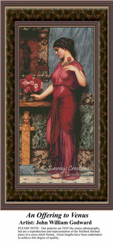 An Offering to Venus, Fine Art Counted Cross Stitch Pattern, Women Counted Cross Stitch Pattern