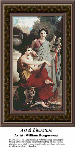 Art and Literature, Fine Art Counted Cross Stitch Pattern, Women Counted Cross Stitch Pattern