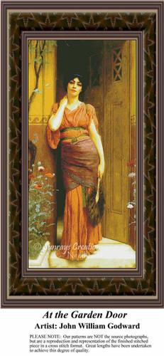 At the Garden Door, Fine Art Counted Cross Stitch Pattern, Women Counted Cross Stitch Pattern