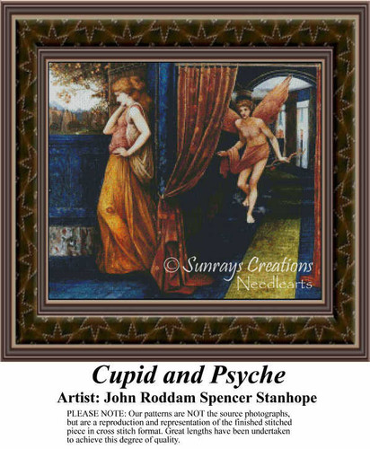 Cupid and Psyche, Fine Art Counted Cross Stitch Pattern
