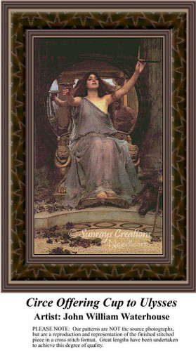 Circe Offering Cup to Ulysses, Fine Art Counted Cross Stitch Pattern, Women Counted Cross Stitch Pattern