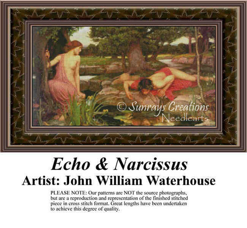 Echo and Narcissus, Fine Art Counted Cross Stitch Pattern