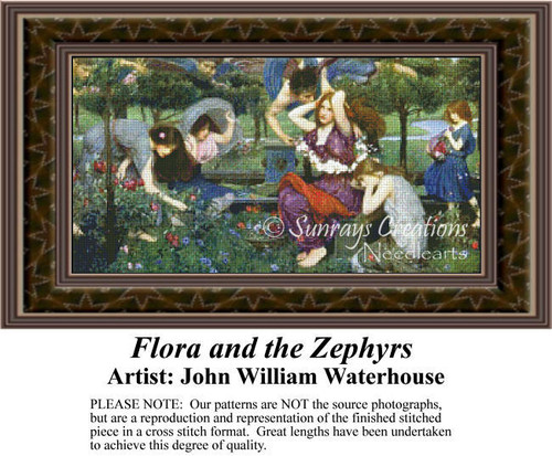 Flora and the Zephyrs, Fine Art Counted Cross Stitch Pattern, Fantasy Counted Cross Stitch Patterns