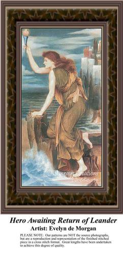 Hero Waiting Return of Leander, Fine Art Counted Cross Stitch Pattern, Women Counted Cross Stitch Pattern