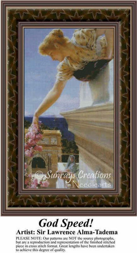 God Speed!, Fine Art Counted Cross Stitch Pattern, Women Counted Cross Stitch Pattern