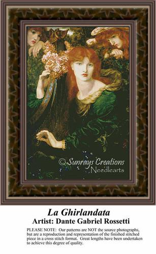 La Ghirlandata, Fine Art Counted Cross Stitch Pattern, Women Counted Cross Stitch Pattern