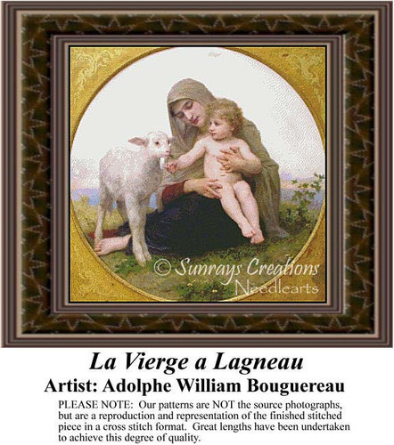 La Vierge a Lagneau, Fine Art Counted Cross Stitch Pattern