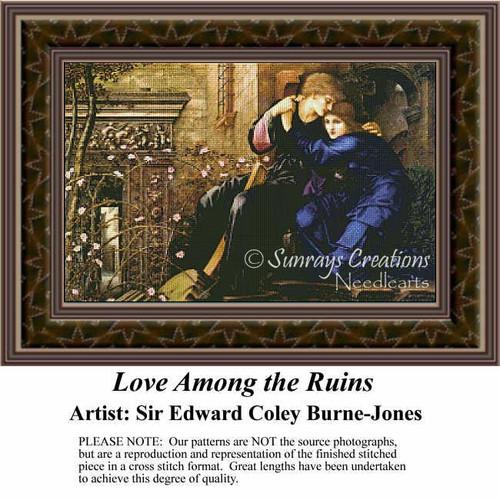 Love Among the Ruins, Fine Art Counted Cross Stitch Pattern, Romance Counted Cross Stitch Pattern