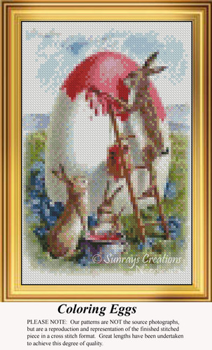 Coloring Eggs, Easter Miniatures Counted Cross Stitch Pattern