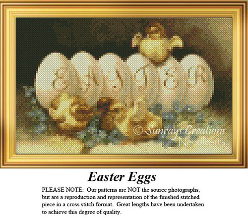 Easter Eggs, Easter Miniatures Counted Cross Stitch Pattern