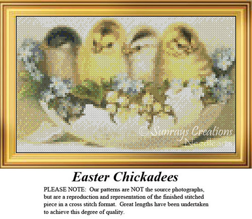Easter Chickadees, Easter Miniatures Counted Cross Stitch Pattern