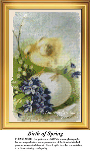 Birth of Spring, Easter Miniatures Counted Cross Stitch Pattern