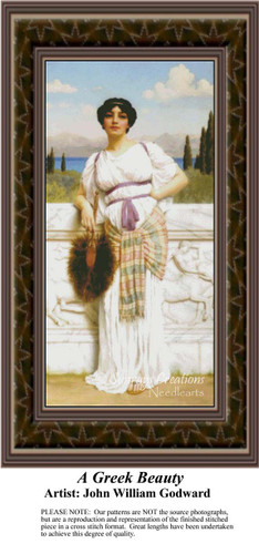 A Greek Beauty, Fine Art Counted Cross Stitch Pattern, Women Counted Cross Stitch Pattern