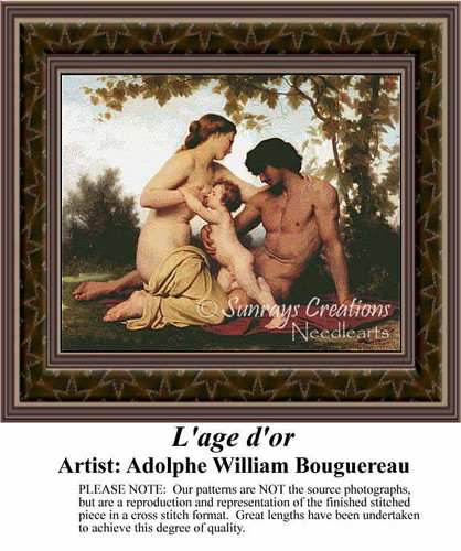 L'age d'or, Fine Art Counted Cross Stitch Pattern, Romance Counted Cross Stitch Pattern